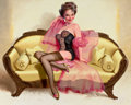 "Pin-up and Glamour Art, DONALD ""RUSTY"" RUST (American, b. 1932). Brunette onLoveseat, 1997. Oil on canvas. 24 x 30 in.. Signed lower right...."