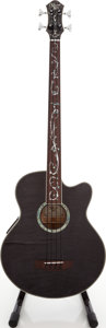 Musical Instruments:Bass Guitars, 2000s Michael Kelly Dragonfly Trans Black Acoustic Bass Guitar, Serial # MK204050037....