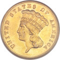 Three Dollar Gold Pieces, 1883 $3 MS61 PCGS Secure....