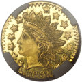 California Fractional Gold, 1881 25C Indian Round 25 Cents, BG-887, R.3, MS67 Prooflike NGC....