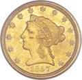 Liberty Quarter Eagles, 1857-D $2 1/2 AU55 PCGS....