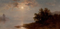 Paintings, HERMAN FUECHSEL (American, 1833-1915). Moonlit Lake, White Mountains, 1894. Oil on canvas. 10 x 20 inches (25.4 x 50.8 c...