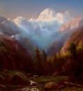 Fine Art - Sculpture, American, RÉGIS FRANÇOIS GIGNOUX (French/American, 1816-1882). The JungFrau, Switzerland . Oil on canvas. 29-1/2 x 27 inches (74....