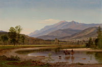 SAMUEL LANCASTER GERRY (American, 1813-1891) Fording the Stream (Franconia Mountains, New Hampshire), 1