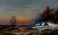 Fine Art - Painting, American:Antique  (Pre 1900), JAMES HAMILTON (American, 1819-1878). Rounding the Cape,Sunset . Oil on canvas. 22 x 36 inches (55.9 x 91.4 cm).Signed...