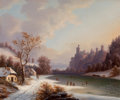 Fine Art - Painting, American:Antique  (Pre 1900), GUNTHER HARTWICK (American, 1817-1887). Ice Skating Scene .Oil on canvas. 25 x 30 inches (63.5 x 76.2 cm). ...