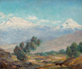 Fine Art - Painting, American:Modern  (1900 1949)  , ORPHA MAE KLINKER (American, 1891-1964). 'Popocatapetl' SmokingMountain and 'Ixtaecihautl' Sleeping Woman . Oil on canv...