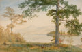 Fine Art - Work on Paper:Watercolor, JOHN HENRY HILL (American, 1839-1922). Lake George inAutumn, 1873. Watercolor on paper laid on wood panel. 12-1/4 x17-...