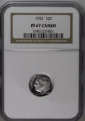 Proof Roosevelt Dimes: , 1952 10C PR67 Cameo NGC. NGC Census: (41/31). PCGS Population(31/4). Numismedia Wsl. Price: $180. (#85227)...