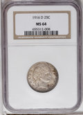 Barber Quarters: , 1916-D 25C MS64 NGC. NGC Census: (362/206). PCGS Population (382/294). Mintage: 6,540,800. Numismedia Wsl. Price: $440. (#5...