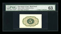 Fractional Currency:First Issue, Milton 1E5R.3 5¢ First Issue Proof Printed in Green PMG ChoiceUncirculated 63....