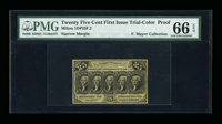 Milton 1DP25F.2 25¢ First Issue Trial-Color Die Proof PMG Gem Uncirculated 66 EPQ
