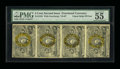 Fractional Currency:Second Issue, Fr. 1233 5¢ Second Issue Vertical Strip Of Four PMG About Uncirculated 55 EPQ....