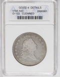 Early Half Dollars: , 1795 50C 2 Leaves--Cleaned--ANACS. Good 4 Details. O-102. NGCCensus: (43/1343). PCGS Population (35/997). Mintage: 299,680...