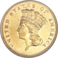 Three Dollar Gold Pieces, 1877 $3 AU55 NGC. CAC....