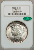 Peace Dollars, 1922-S $1 MS65 NGC. CAC....