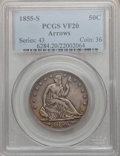 Seated Half Dollars, 1855-S 50C Arrows VF20 PCGS....