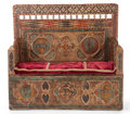 Furniture : Continental, AN ITALIAN RENAISSANCE STYLE PAINTED WOOD BENCH . 17th century (inpart). 53 x 57 x 20-1/2 inches (134.6 x 144.8 x 52.1 cm)...