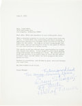 Autographs:Celebrities, Casey Stengel Typed Letter Signed...