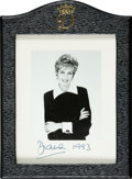 Autographs:Non-American, Princess Diana Photograph Signed....