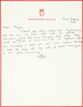 Autographs:Non-American, Prince William Autograph Letter Signed...