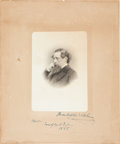 Autographs:Authors, Charles Dickens Engraving Signed...