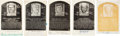 Autographs:Post Cards, 1960's Hall of Famers Signed Black & White Plaques Lot of 5....