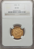 Three Dollar Gold Pieces, 1856 $3 XF45 NGC....