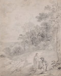 Works on Paper, THOMAS GAINSBOROUGH (British, 1727-1788). Figures By a Track Through a Wooded Landscape, circa early 1750s. Pencil on pa...