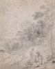 THOMAS GAINSBOROUGH (British, 1727-1788) Figures By a Track Through a Wooded Landscape, circa early 1750s Pencil on pa...