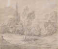 Fine Art - Work on Paper:Drawing, THOMAS GAINSBOROUGH (British, 1727-1788). A Church in a WoodedLandscape, circa late 1770s-early 1780s. Black chalk and ...