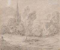 THOMAS GAINSBOROUGH (British, 1727-1788) A Church in a Wooded Landscape, circa late 1770s-early 1780s