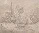 THOMAS GAINSBOROUGH (British, 1727-1788) A Church in a Wooded Landscape, circa late 1770s-early 1780s Black chalk and...