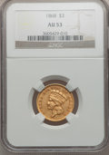 Three Dollar Gold Pieces, 1868 $3 AU53 NGC....