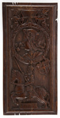 Decorative Arts, Continental:Other , A CONTINENTAL CARVED WOOD ARCHITECTURAL PANEL . 18th century . 21inches high x 10-3/8 inches wide (53.3 x 26.2 cm). Elton...