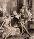 Mainstream Illustration, ROBERT LYNN LAMBDIN (American, 1886-1981). Pair of Redbookmagazine story illustrations. Charcoal on board laid onboard... (Total: 2 Items)