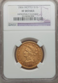 Liberty Eagles, 1866 $10 -- Improperly Cleaned -- NGC Details. XF....