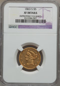 Liberty Half Eagles, 1863-S $5 -- Improperly Cleaned -- NGC Details. XF....