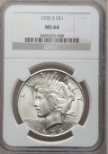 Peace Dollars: , 1935-S $1 MS64 NGC. NGC Census: (887/480). PCGS Population(1357/731). Mintage: 1,964,000. Numismedia Wsl. Price for proble...