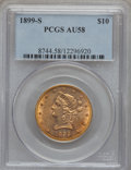 Liberty Eagles: , 1899-S $10 AU58 PCGS. PCGS Population (92/300). NGC Census:(77/418). Mintage: 841,000. Numismedia Wsl. Price for problem f...
