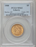 Liberty Half Eagles: , 1908 $5 MS62 PCGS. PCGS Population (1344/2374). NGC Census:(2010/2522). Mintage: 421,874. Numismedia Wsl. Price for proble...