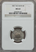 Shield Nickels: , 1867 5C No Rays MS63 NGC. NGC Census: (133/385). PCGS Population(170/295). Mintage: 28,800,000. Numismedia Wsl. Price for ...
