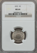 Shield Nickels: , 1872 5C MS64 NGC. NGC Census: (64/51). PCGS Population (96/67).Mintage: 6,036,000. Numismedia Wsl. Price for problem free ...