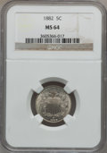 Shield Nickels: , 1882 5C MS64 NGC. NGC Census: (301/215). PCGS Population (361/241).Mintage: 11,476,000. Numismedia Wsl. Price for problem ...