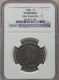 Large Cents: , 1808 1C -- Obv Damage -- NGC. VF. NGC Census: (1/51). PCGSPopulation (7/79). Mintage: 1,007,000. Numismedia Wsl. Price for...