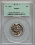 Buffalo Nickels, 1928-D 5C MS65 PCGS. PCGS Population (339/39). NGC Census: (141/4).Mintage: 6,436,000. Numismedia Wsl. Price for problem ...
