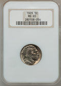 Buffalo Nickels: , 1929 5C MS65 NGC. NGC Census: (250/44). PCGS Population (546/165).Mintage: 36,446,000. Numismedia Wsl. Price for problem f...