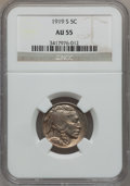 Buffalo Nickels: , 1919-S 5C AU55 NGC. NGC Census: (42/412). PCGS Population (52/571).Mintage: 7,521,000. Numismedia Wsl. Price for problem f...