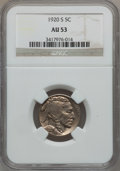 Buffalo Nickels: , 1920-S 5C AU53 NGC. NGC Census: (10/488). PCGS Population (23/561).Mintage: 9,689,000. Numismedia Wsl. Price for problem f...