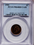 Proof Indian Cents: , 1904 1C PR64 Cameo PCGS. PCGS Population (4/8). NGC Census: (0/3).(#82401)...